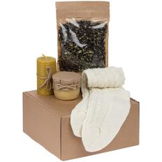 Набор Warmkeeper: носки, свеча, крем-мед, чай, белый фото