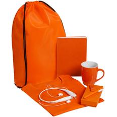 Набор Welcome Kit (футболка, кружка, bluetooth наушники, ежедневник, флешка на 8 Гб, ручка шариковая), оранжевый фото