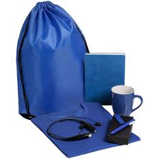 Набор Welcome Kit (футболка, кружка, bluetooth наушники, ежедневник, флешка на 8 Гб, ручка шариковая), синий фото