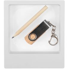 Набор Wood Mood: флешка Twist Wood 16 Гб, карандаш простой Mini, светлое дерево фото