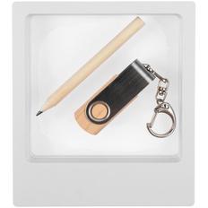 Набор Wood Mood: флешка Twist Wood 8 Гб, карандаш простой Mini, светлое дерево фото