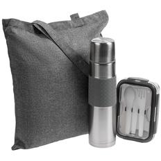 Набор Work Hard Go Forward: термос, ланч-бокс, сумка для покупок Pastel, серебристый фото