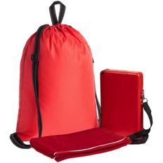 Набор Work Out: бутылка для воды Flatbed, полотенце Athleisure Small, рюкзак Unit Novvy, красный фото