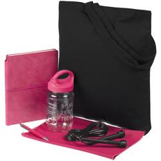 Набор Workout: сумка, полотенце охлаждающее, гантель, ежедневник, скакалка, ручка шариковая, чёрный / розовый фото