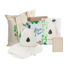 Набор «Идите в баню!»: шапка, рукавица, коврик, мочалка с ручками, косметичка, холщовая сумка Basic 105, бежевый / белый фото