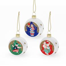 Набор из 3 шаров-полусфер Farforite «Новогоднее представление» в подарочной коробке, разноцветный фото
