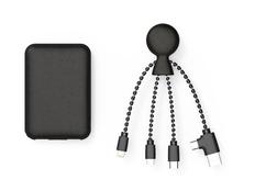Набор из биоразлагаемых материалов: внешний аккумулятор Xoopar BioPack Mr. Bio 5000 mAh, кабель Mr. Bio, черный фото