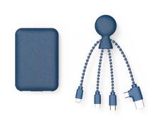 Набор из биоразлагаемых материалов: внешний аккумулятор Xoopar BioPack Mr. Bio 5000 mAh, кабель Mr. Bio, синий фото