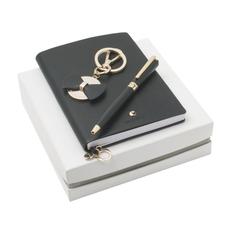 Набор Cacharel: записная книжка А6, ручка шариковая металлическая, брелок, черный фото