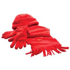 Набор Зима: шапка, перчатки, шарф, красный фото