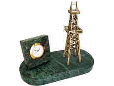 Настольный прибор Нефтяная вышка, золотой, зеленый фото