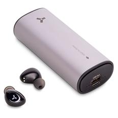 Наушники беспроводные с внешним аккумулятором 5000 mAh Accesstyle Tangerine TWS, серебристые фото