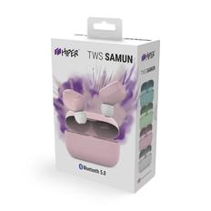 Наушники беспроводные в зарядном кейсе Hiper Tws Samun, розовые фото