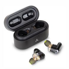 Наушники беспроводные внутриканальные затычки с зарядным кейсом футляром True Wireless Accesstyle Cornflower TWS, черно золотые фото