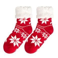 Носки новогодние, красные / белые фото