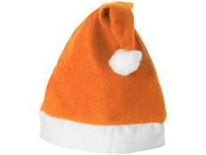 Шапка Новогодняя, белая/ оранжевая фото
