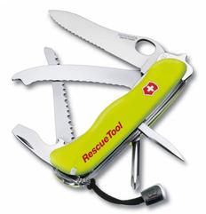 Нож Victorinox RescueTool One Hand, салатовый, 111 мм, 12 функций фото
