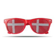 Очки болельщика с наклейкой-флагом страны (Дания), красный/белый фото