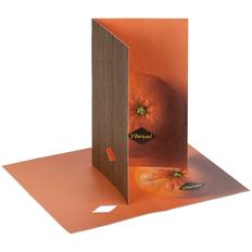Открытка «Мандарин удачи», крафт / оранжевая фото
