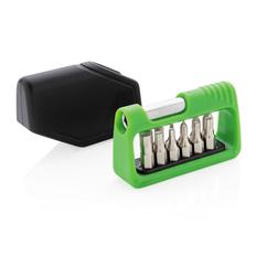 Отвертка с набором бит карманная XD Collection, 13 предметов, черная/ зеленая фото