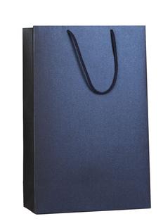 Пакет бумажный Блеск, средний, синий фото