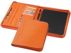 Папка А4 Ebony на молнии с держателем для ручки, карманом отделениями для документов и блокнотом на 20 стр,  оранжевый фото