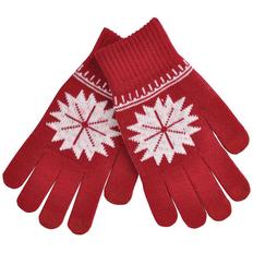 Перчатки для сенсорных экранов Снежинка, размер М, красные фото