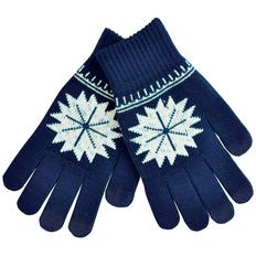 Перчатки для сенсорных экранов Снежинка, размер М, темно-синие фото