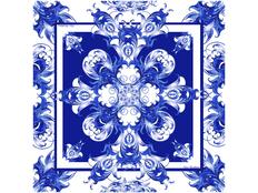 Платок Гжель, синий/ белый фото