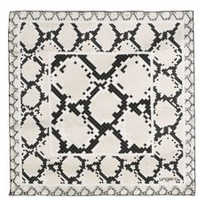 Платок шелковый Pitone Cream, черный/ бежевый фото