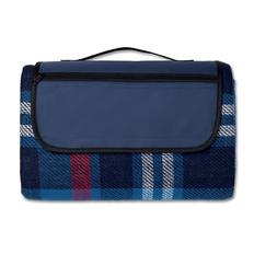 Плед акриловый для пикника с защитной непромокаемой прослойкой, в клетку, синий/коричневый фото