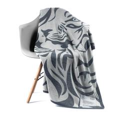 Плед полушерстяной «Исчезающий тигр», серый / белый фото
