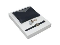Подарочный набор Bird: брелок, часы наручные, сумочка, тёмно-синий фото