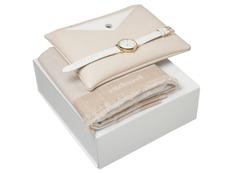 Подарочный набор Bird : шарф, часы наручные, сумочка, бежевый фото