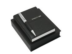 Подарочный набор: блокнот A6, ручка шариковая, чёрный/серебряный фото