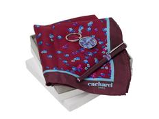 Набор подарочный Cacharel Blossom: брелок с USB-флешкой на 16 Гб, шелковый платок, ручка-роллер, красный/ синий фото