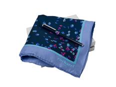 Подарочный набор Blossom: шелковый платок, ручка-роллер, синий фото