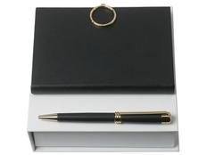 Подарочный набор Boucle Noir: ручка шариковая, блокнот А6, чёрный/золотой фото