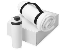 Подарочный набор Cozy с пледом и термокружкой, белый фото