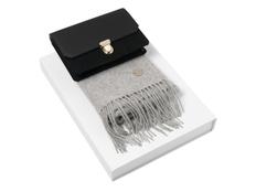 Набор подарочный Cacharel: дамский клатч, шарф, чёрный/ серый фото