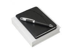 Подарочный набор Embrun: блокнот А6, ручка шариковая, чёрный фото