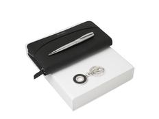 Подарочный набор Embrun: брелок, дорожный кошелек, ручка шариковая, чёрный/серебряный фото