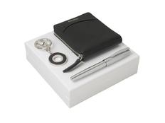 Подарочный набор Embrun: брелок, кошелек, ручка-роллер, чёрный/серебряный фото