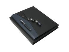 Подарочный набор Lapo: папка А4, USB-флешка на 16 Гб, ручка роллер, чёрный/синий фото