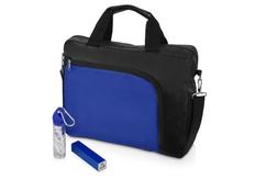 Набор подарочный Load: наушники с микрофоном Earbuds, внешний аккумулятор, черный / синий фото