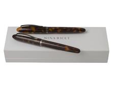 Подарочный набор Panache Ecaille: ручка перьевая, ручка роллер, коричневый фото