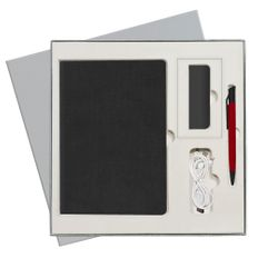 Набор подарочный Portobello Flax City: ежедневник недатированный А5, внешний аккумулятор 2000 mAh, ручка, чёрный фото