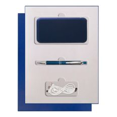 Набор подарочный Portobello Grand: внешний аккумулятор 1000 мАч, ручка шариковая, синий фото