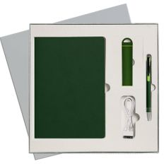 Набор подарочный Portobello Latte: ежедневник недатированный А5, внешний аккумулятор, ручка, зеленый / серый фото