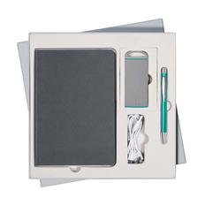 Набор подарочный Portobello Rain: ежедневник недатированный, внешний аккумулятор 4000 mAh, ручка, серый / бирюзовый фото